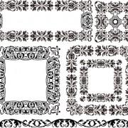 Link toBlack floral border with frames vector material