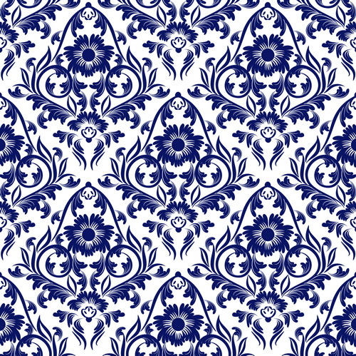 Blue floral ornaments pattern seamless vector - Vector ...