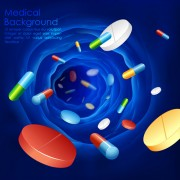 Blue medical herbal creative background vector