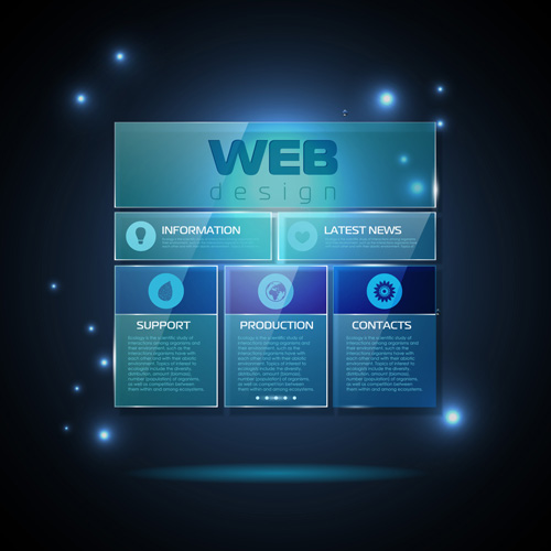 Blue Web Infographics Template Design Vector 03 Over