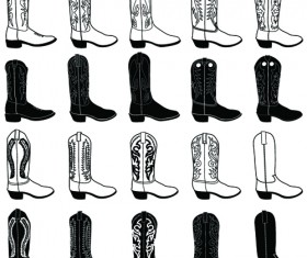 Boots design material vector set 01