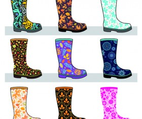 Boots design material vector set 02