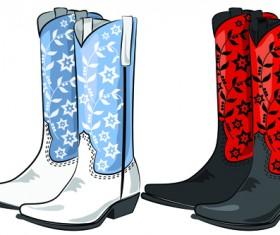 Boots design material vector set 04