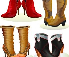 Boots design material vector set 05
