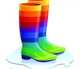 Boots design material vector set 06