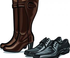 Boots design material vector set 07
