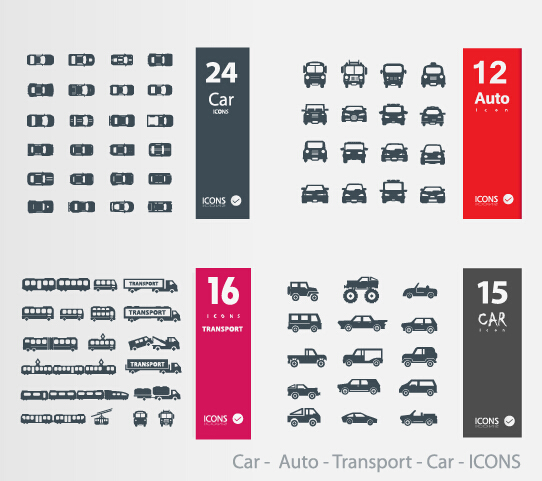 Car - auto - transport icons vector