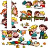 Cartoon school children cute design vector 04