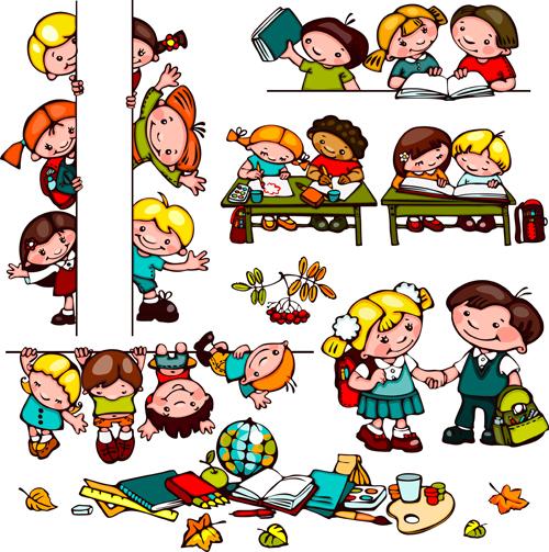 Cartoon school children cute design vector 04 free download