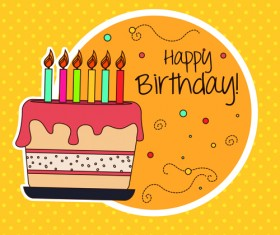 Cartoon style Happy Birthday greeting card template 01