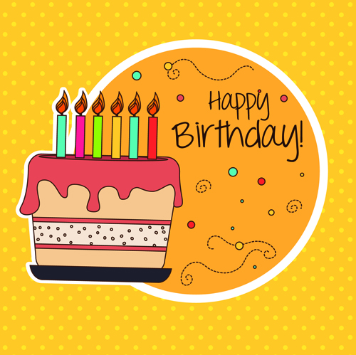 Cartoon Style Happy Birthday Greeting Card Template 01