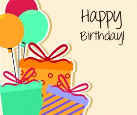 Cartoon style Happy Birthday greeting card template 02
