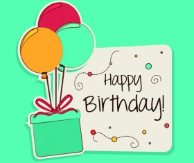 Cartoon style Happy Birthday greeting card template 03
