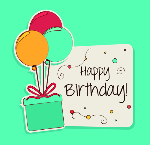 Bon Cartoon Style Happy Birthday Greeting Card Template 03