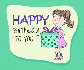 Cartoon style Happy Birthday greeting card template 05