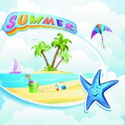 Link toCartoon style summer beach vector background 02