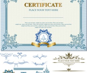 Certificates template with ornament kit vector 01