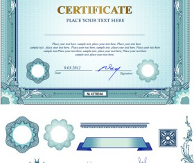 Certificates template with ornament kit vector 02
