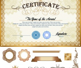 Certificates template with ornament kit vector 03