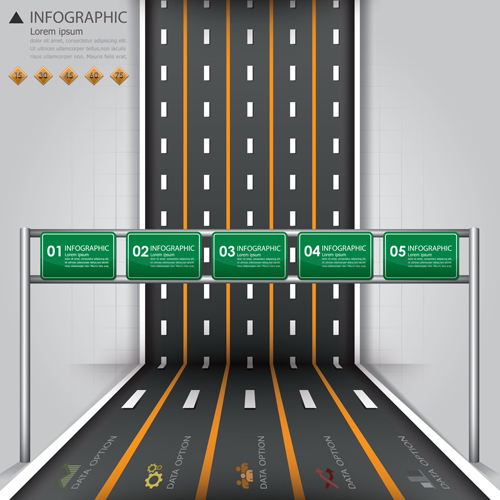 City street traffic Infographic elements vector 03