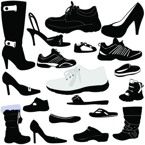 Classic woman shoes design vectors 04