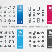 Link toClock - computer - cinema - social media icons vector