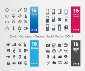Clock – Computer – Cinema – Social Media icons vector