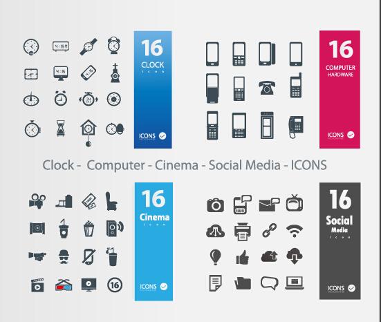 Clock Computer Cinema Social Media icons vector