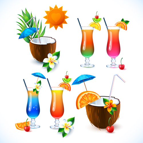 Coconut and cocktails vector graphics 01