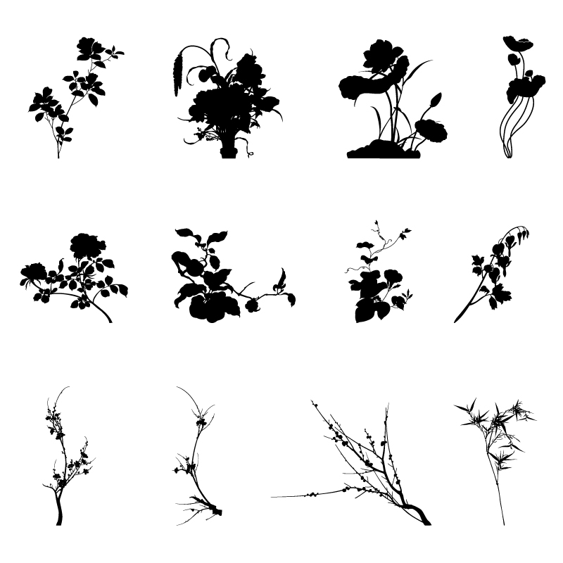 Commonly plants silhouettes vector graphics 01