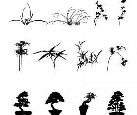 Commonly plants silhouettes vector graphics 02