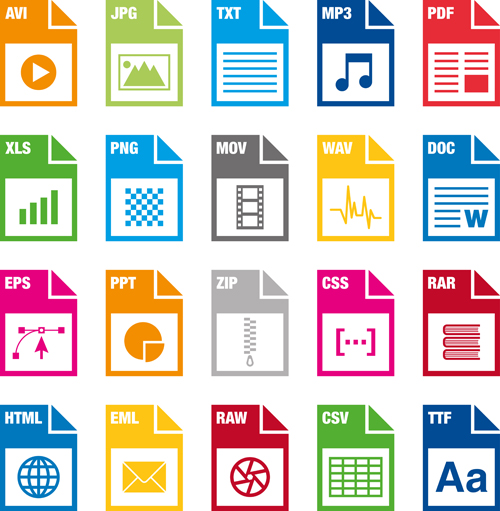 Creative File Format Icons Vector Graphics Computer