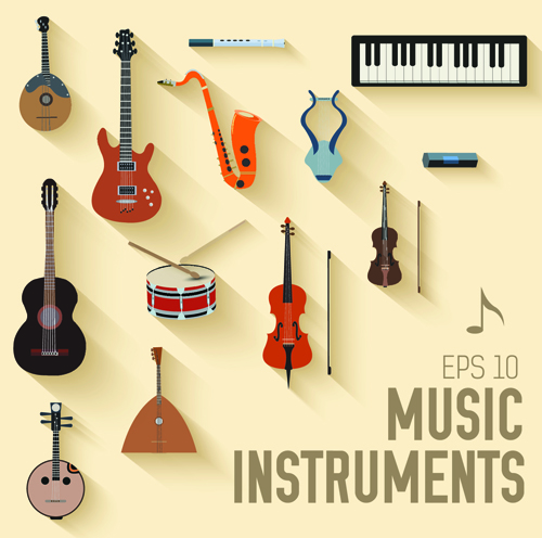 Creative music Instruments background vector graphics 02 ...