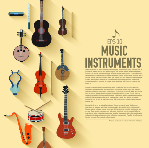 Creative Music Instruments Background Vector Graphics 03