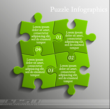 Creative puzzle infographic template vector 05 – Over millions ...