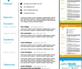 Creative resume template design vector material 02