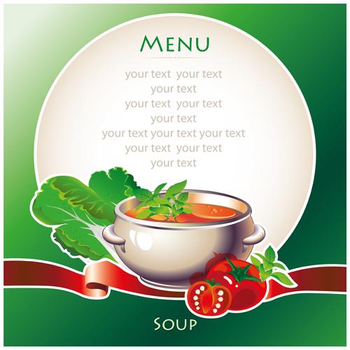 creative soup menu cover vector material