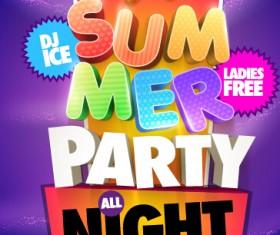Creative summer party poster design vecor 02