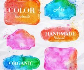 Creative watercolor labels vector material 01
