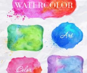 Creative watercolor labels vector material 02