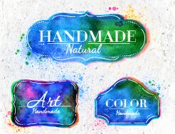 Creative watercolor labels vector material 03