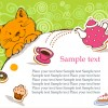 Cute cat birthday cards creative vector material 04