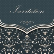 Link toDark gray floral invitation cards vector material 04