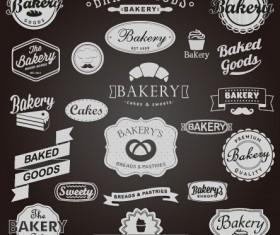 Dark vintage bakery labels vector