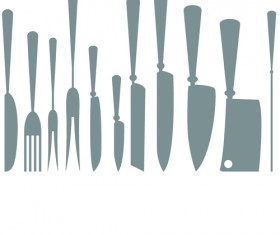Different kitchen cutlery silhouette vector 02