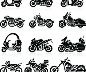 Different motorcycle vector silhouettes image