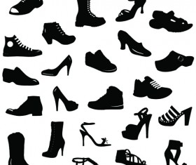 Different shoes design vector silhouette 01