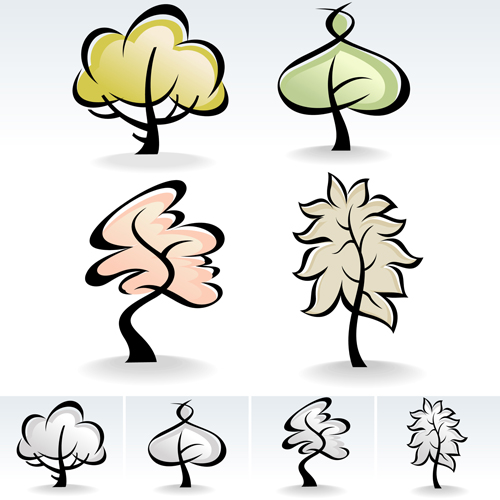 drawing cute tree vector graphics 04 vector plant free