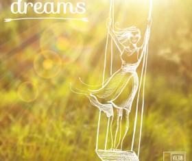 Elegant summer dreams vector background art 01