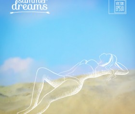 Elegant summer dreams vector background art 03